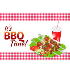Barbecue party horizontal banner grill summer vector