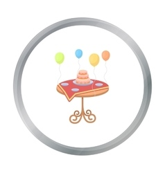 Birthday cake on the table icon in cartoon style vector