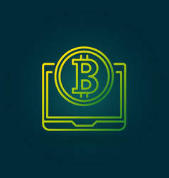 Bitcoin coin with laptop green line icon or vector