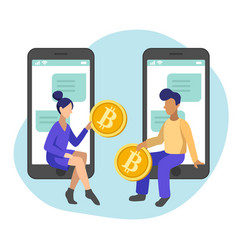 Bitcoin transfer between people in smartphones vector