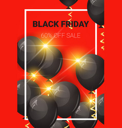 black friday sale poster with air balloons over vector image