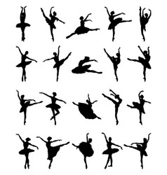 Black silhouettes of ballerinas vector