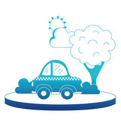 blue silhouette taxi car service in the city with vector image
