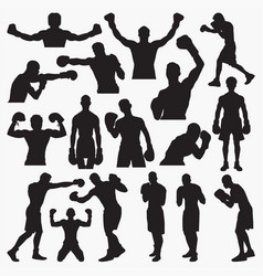 boxing silhouettes 1 vector image