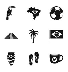 Brazilan symbols icon set simple style vector