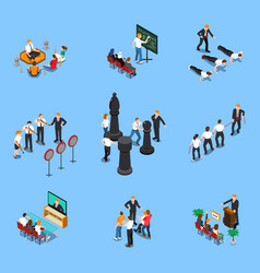business coaching isometric set vector image