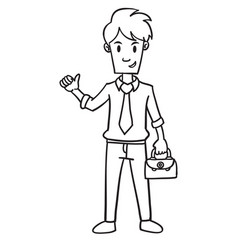 Businessman with bag character hand draw vector