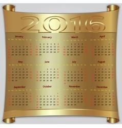 Calendar for 2016 year gold metallic vector