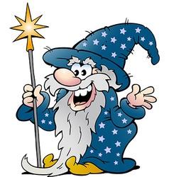 Cartoon a happy old wizard magic man vector