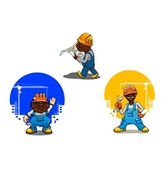 Cartoon builder bricklayer and engineer vector image