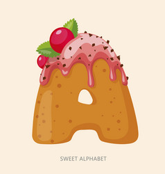 Cartoon candy alphabet letter a vector