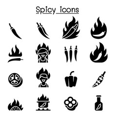 chili spicy icon set graphic design vector image