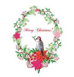 Christmas poster with bird and poinsettia vector