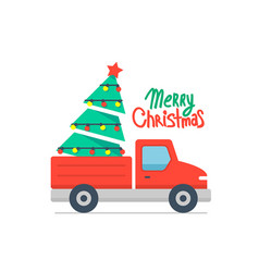 christmas truck and tree vector image