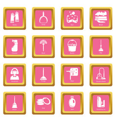 cleaning tools icons set pink square vector image