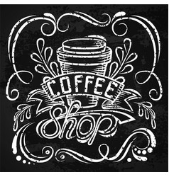 coffee packaging design lettering hand drawing vector image