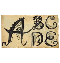 Curly playful alphabet - hand drawn - part A-E vector