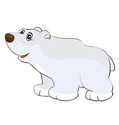 cute polar bear toy cartoon postcard isolated vector image