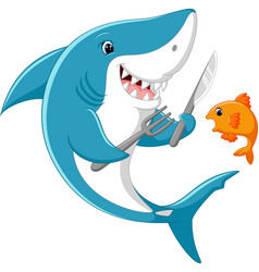 cute shark cartoon ready to eat little fish vector image