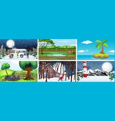 different scenes nature in set vector image