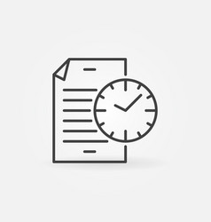 document with clock line icon file with vector image