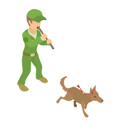 Dog catcher work icon isometric 3d style vector