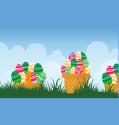 easter egg on basket landscape vector image