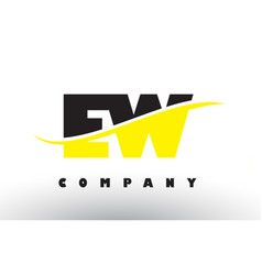 Ew e w black and yellow letter logo with swoosh vector