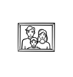 Family photo frame hand drawn sketch icon vector