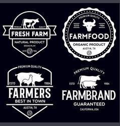 Farmers market logo templates stamps labels badges vector