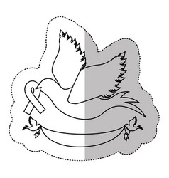 Figure dove with breast cancer ribbon in the peak vector