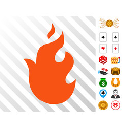 Fire icon with bonus vector