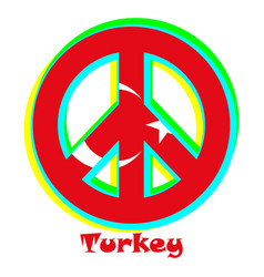 Flag of turkey as a sign of pacifism vector