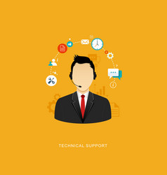 Flat design with icons technical support vector