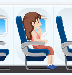 girl on airplane seat vector image