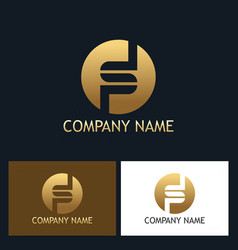 Gold letter s round company logo vector