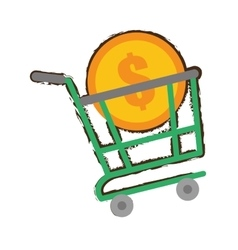green shopping cart online coin dollar sketch vector image