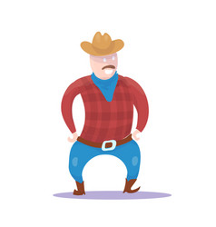 hand drawn cowboy character isolated on white vector image vector image