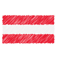 Hand drawn national flag of austria isolated on a vector