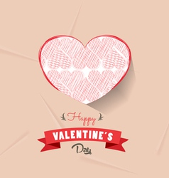 happy valentines day with heart sketched vector image
