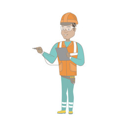 Hispanic electrician with electrical equipment vector
