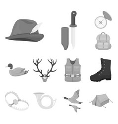 Hunting and trophy monochrome icons in set vector