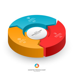 Infographic isometric 3d process chart vector
