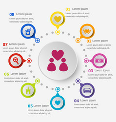 Infographic template with family icons vector