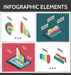 isometric colorful square infographic concept vector image