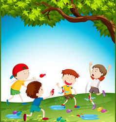 kids playing with water balloon vector image