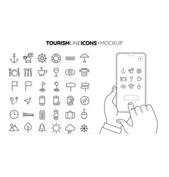 Line travel and tourism icon set with line hands vector