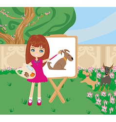 Little artist girl painting dog on large paper vector image