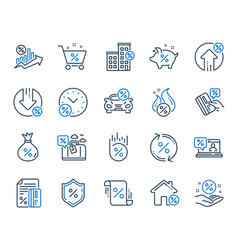 Loan line icons set investment interest rate vector