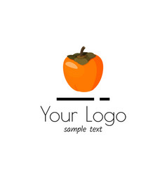 Logo with persimmon simple sign for market vector